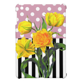 Coque iPad Mini motif de point jaune de polka de tulipe
