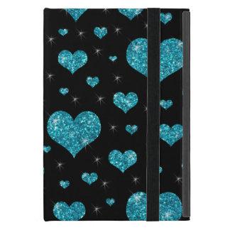 Coque iPad Mini Motif noir de coeurs de turquoise de parties
