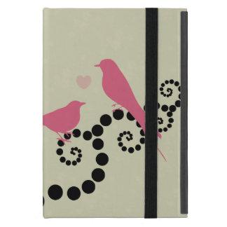 Coque iPad Mini Oiseaux, points, coeur, branches, remous - rose