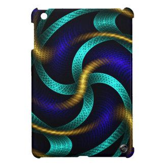Coque iPad Mini Or chic, bleu, et art abstrait de fractale de Teal