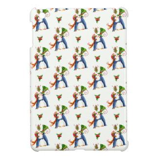 Coque iPad Mini Pingouins de Noël dans le gui d'amour