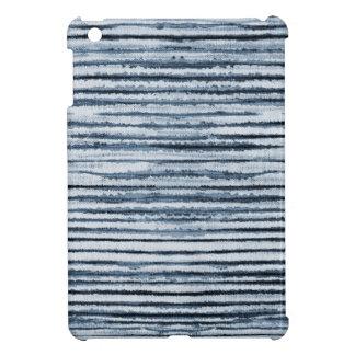 Coque iPad Mini Rayures de zèbre d'aquarelle dans le bleu