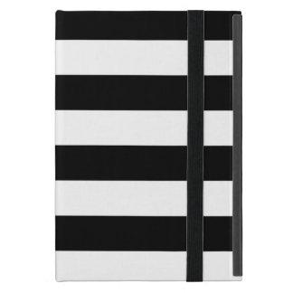 Coque iPad Mini Rayures horizontales noires et blanches élégantes