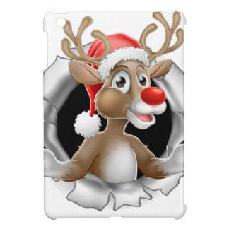Coque iPad Mini Renne de casquette de Père Noël déchirant par