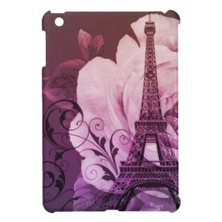Coque iPad Mini Tour Eiffel Girly floral pourpre chic de Boho