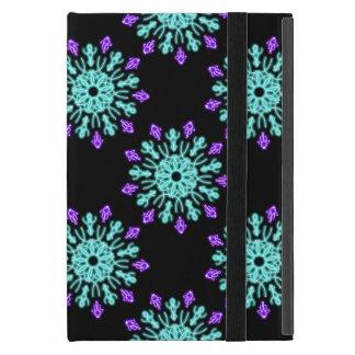 Coque iPad Mini Turquoise et fleur au néon pourpre