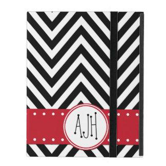 Coque iPad Monogramme - motif de zigzag, Chevron - noir blanc