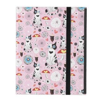 Coque iPad motif des chats et des fleurs
