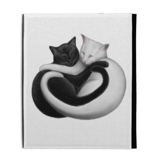 Coque ipad noir et blanc de chats d'amour