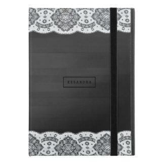"""Coque iPad Pro 9.7"""" Planches vintages blanches en bois de Faux de noir"""
