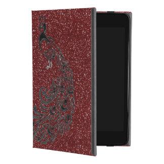 Coque ipad rouge frais de paon de noir de parties