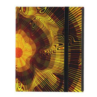 Coque iPad Spirale d'or jaune psychédélique