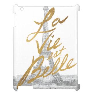Coque iPad Tour Eiffel avec l'écriture d'or