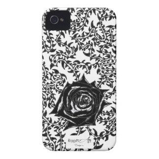 Coque Iphone4/4S Rose piquante Noir