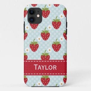 Coque iPhone 11 Bleu personnalisé de cas de l'iPhone 5 de fraise