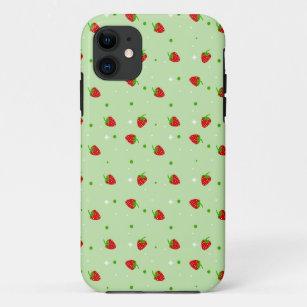 Coque iPhone 11 Les fraises modèlent avec l'arrière - plan vert