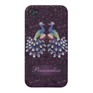 Coque iPhone 4/4S Bijoux élégants de paon et copie pourpre de