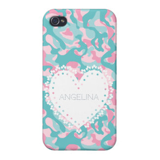 Coque iPhone 4/4S Le camouflage Girly de ressort personnalisent