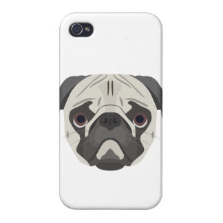 Coque iPhone 4/4S L'illustration poursuit le carlin de visage