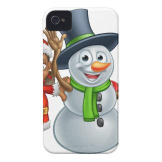 Coque iPhone 4 Aides et bonhomme de neige d'Elf Santa de Noël