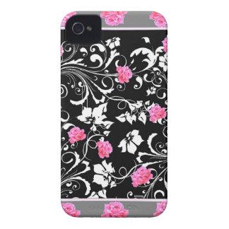 COQUE iPhone 4 ART ROSE ROSE DE JARDIN DE ROULEAUX DE GREY-BLACK