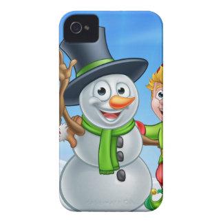 Coque iPhone 4 Bonhomme de neige de Noël de bande dessinée et