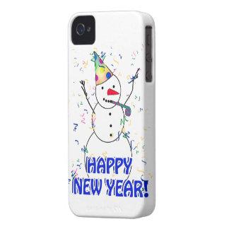 Coque iPhone 4 Bonne année du bonhomme de neige de célébration