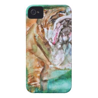 Coque iPhone 4 BOULEDOGUE .3 d'aquarelle