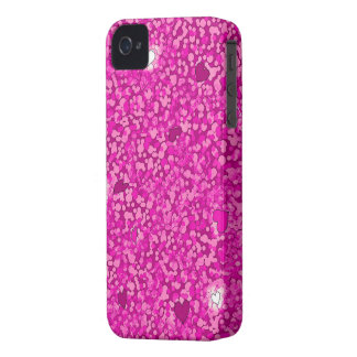 Coque iPhone 4 Case-Mate Cas scintillant rose de l'iphone 4 de coeurs à