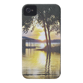 Coque iPhone 4 Case-Mate Coucher du soleil contemporain moderne chic de lac