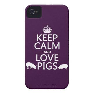 Coque iPhone 4 Case-Mate Gardez le calme et aimez les porcs (toutes les
