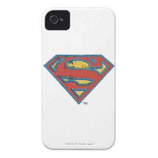 Coque iPhone 4 Case-Mate Logo bleu de grunge d'ensemble du S-Bouclier   de