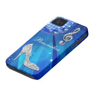 Coque iPhone 4 Case-Mate Note bleue/argentée scintillante de musique et