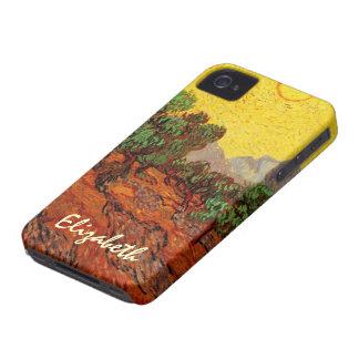 Coque iPhone 4 Case-Mate Oliviers de Van Gogh avec le ciel jaune Sun,
