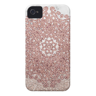 Coque iPhone 4 Case-Mate Ombre rose de parties scintillantes de marbre de