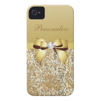 Coque iPhone 4 Case-Mate Paillettes, arc et diamant d'or personnalisés