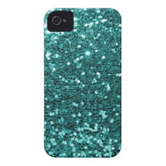 Coque iPhone 4 Case-Mate Parties scintillantes turquoises chics de Faux