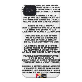 Coque iPhone 4 Case-Mate Portant le Deuil de mon Enfance - Poème
