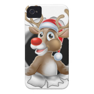 Coque iPhone 4 Case-Mate Renne de casquette de Père Noël traversant