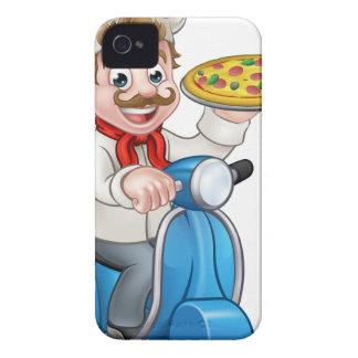 Coque iPhone 4 Chef de pizza de bande dessinée sur le scooter de