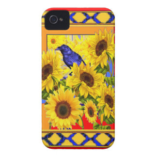 COQUE iPhone 4 CORNEILLE BLEUE ET TRELLIS JAUNE DE ROUGE DE