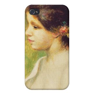 Coque iPhone 4 Et 4S Pierre une jeune femme de Renoir   avec des fleurs