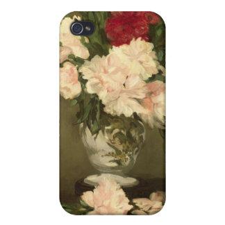 Coque iPhone 4 Et 4S Vase à Manet   de pivoines sur un petit piédestal,