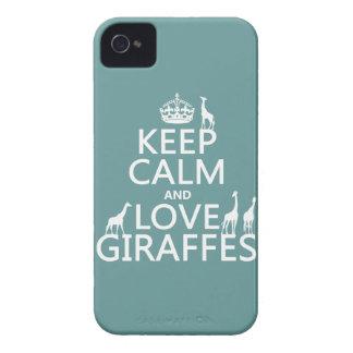Coque iPhone 4 Gardez le calme et aimez les girafes (toute