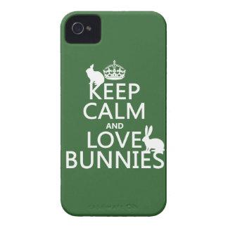 Coque iPhone 4 Gardez le calme et aimez les lapins - toutes les