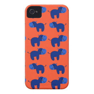 Coque iPhone 4 HIPPOPOTAMES de conception, conception bleue