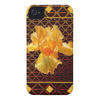 COQUE iPhone 4 IRIS BARBU D'OR DE MOTIF DE DIAMANT D'ART DE BROWN