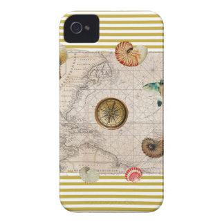 Coque iPhone 4 La marine prise les rayures jaunes de moutarde