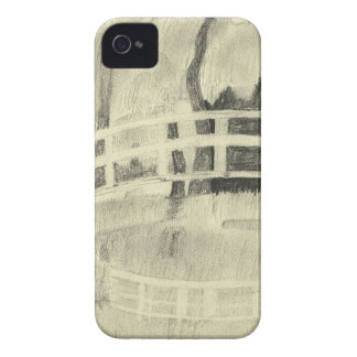 Coque iPhone 4 Le pont japonais de Monet noir et blanc