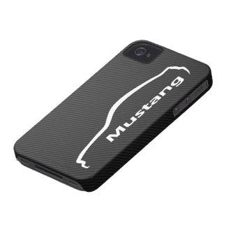 Coque iPhone 4 Logo blanc de silhouette de coupé du GT de mustang